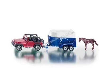 Jeep Wrangler z przyczepą i figurka konia