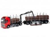Emek 71305 Volvo FH16 750 XL transporter drewna czerwony z przyczepą