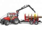 Bruder 03098 Traktor Case IH PUMA CVX 230 leśny z przyczepą