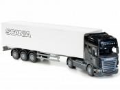 Emek 85003 Scania Topline Box Van kabina czarna, kontener biały