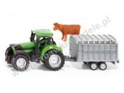 Siku 1640 Traktor z przyczepą dla zwierząt i fig. krowy