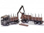 Emek 70603 Scania R450 6x4 transporter drewna szary z żurawiem i przyczepą