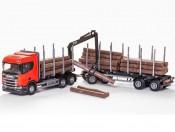 Emek 70605 Scania R450 6x4 transporter drewna czerwony z żurawiem i przyczepą