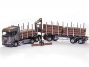Emek 71603 Scania R450 6x4 transporter drewna szary z żurawiem kabinowym i przyczepą