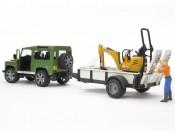Bruder 02593 Land Rover z przyczepą 1-os., mikrokoparką JCB i figurką budowlańca