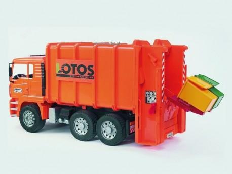 Bruder 02762 MAN Lotos śmieciarka tylna - pomarańczowa