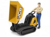 Bruder 62004 Miniwywrotka gąsienicowa JCB HTD 5 z figurką robotnika