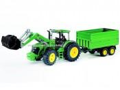 Bruder 03055 Traktor John Deere 7930 z ładowarką i przyczepą 2-osiową