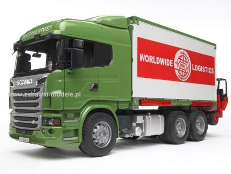 Bruder 03580 Scania R kontener z wózkiem widłowym i paletami